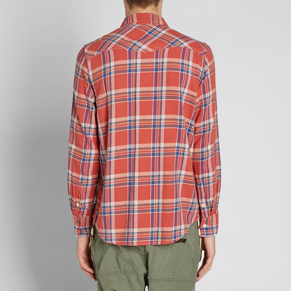 Remi relief check tassel shirt in red for men lyst for Mens shirt with tassels