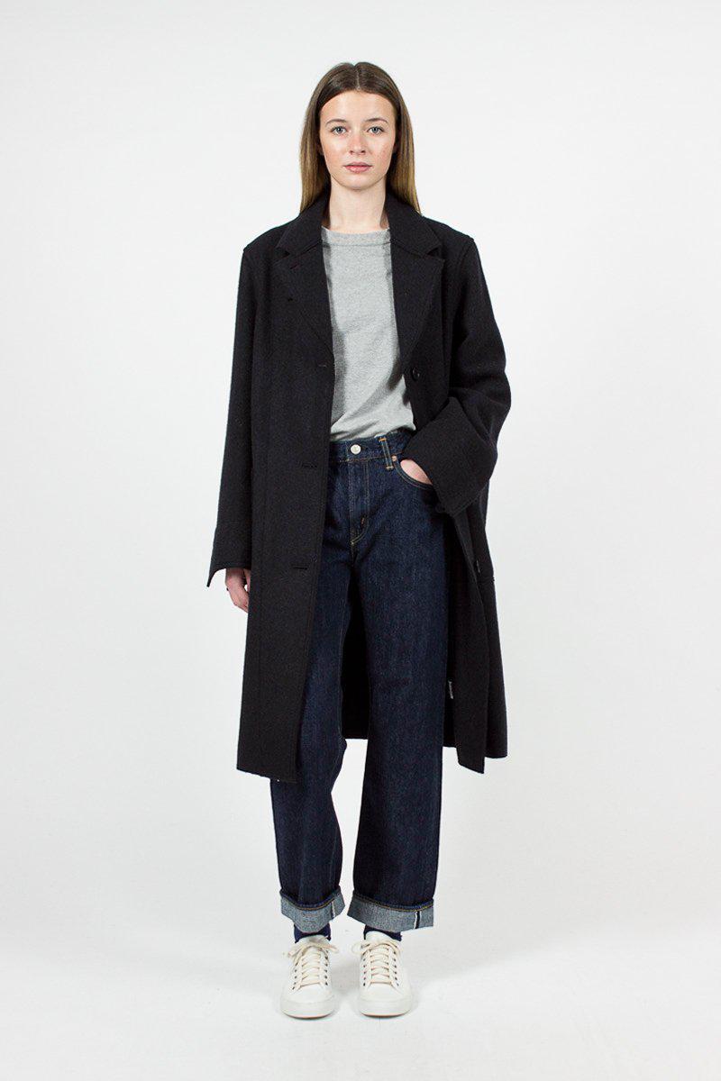 56c28a3da58 Margaret Howell Ink Heavy Wool Melton Arctic Overcoat in Black - Lyst