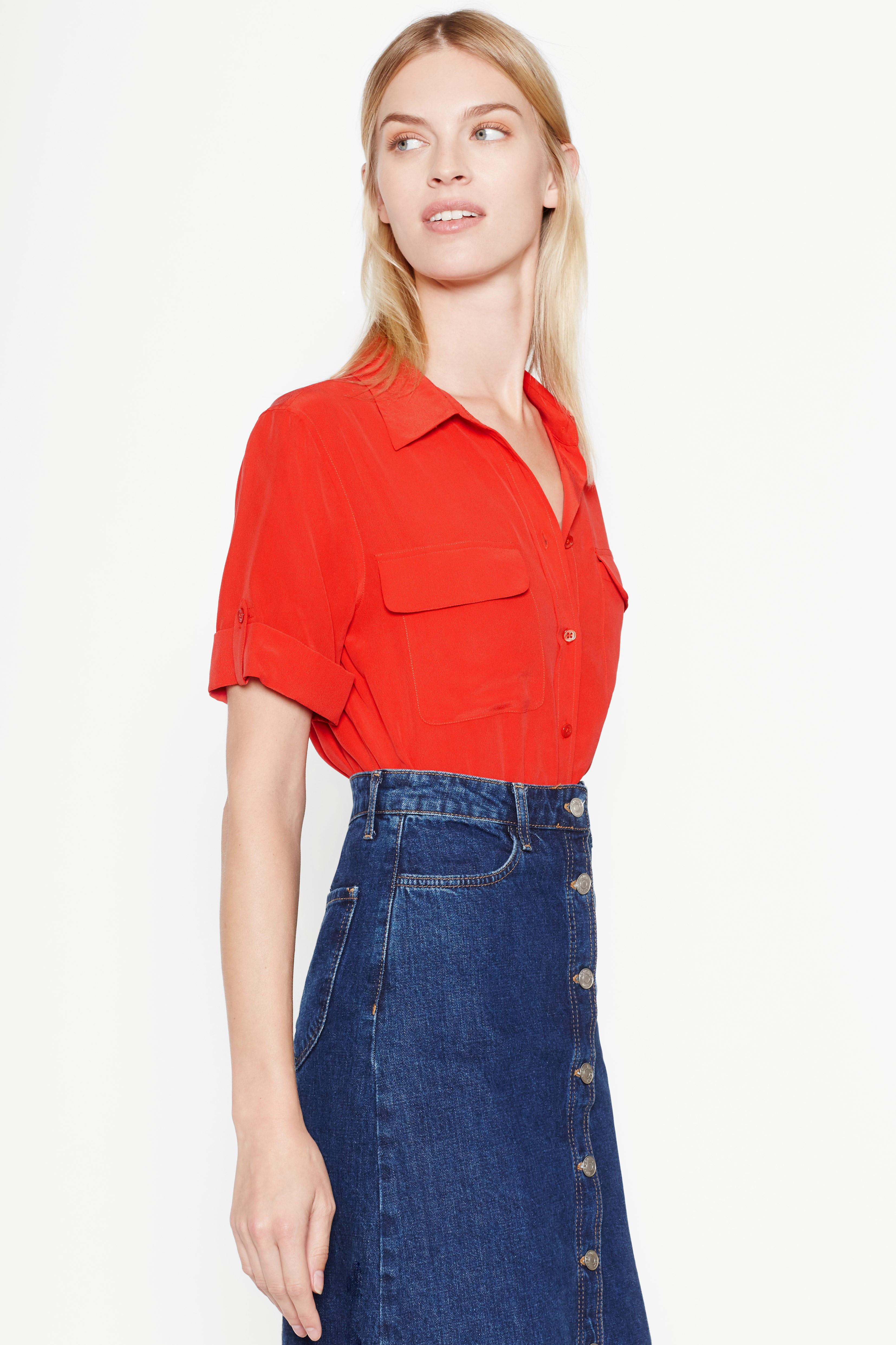 Equipment short sleeve slim signature silk shirt in red lyst - French intellectual property office ...