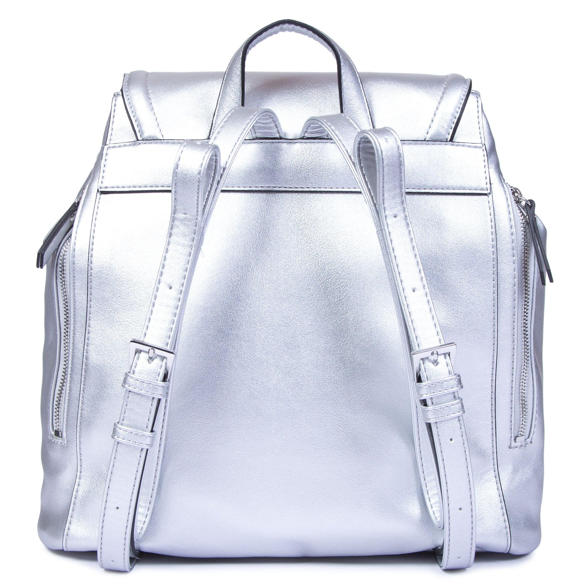 Guess Cotton Terra Metallic Backpack In Silver