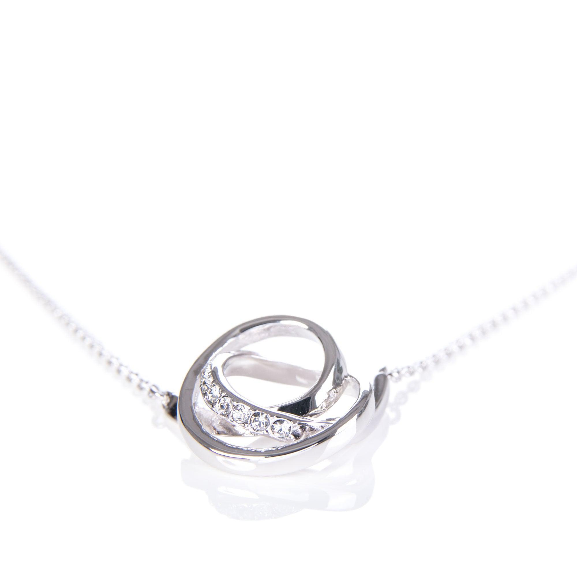 Karen Millen Crystal Ribbon Pendant in Silver (Metallic)