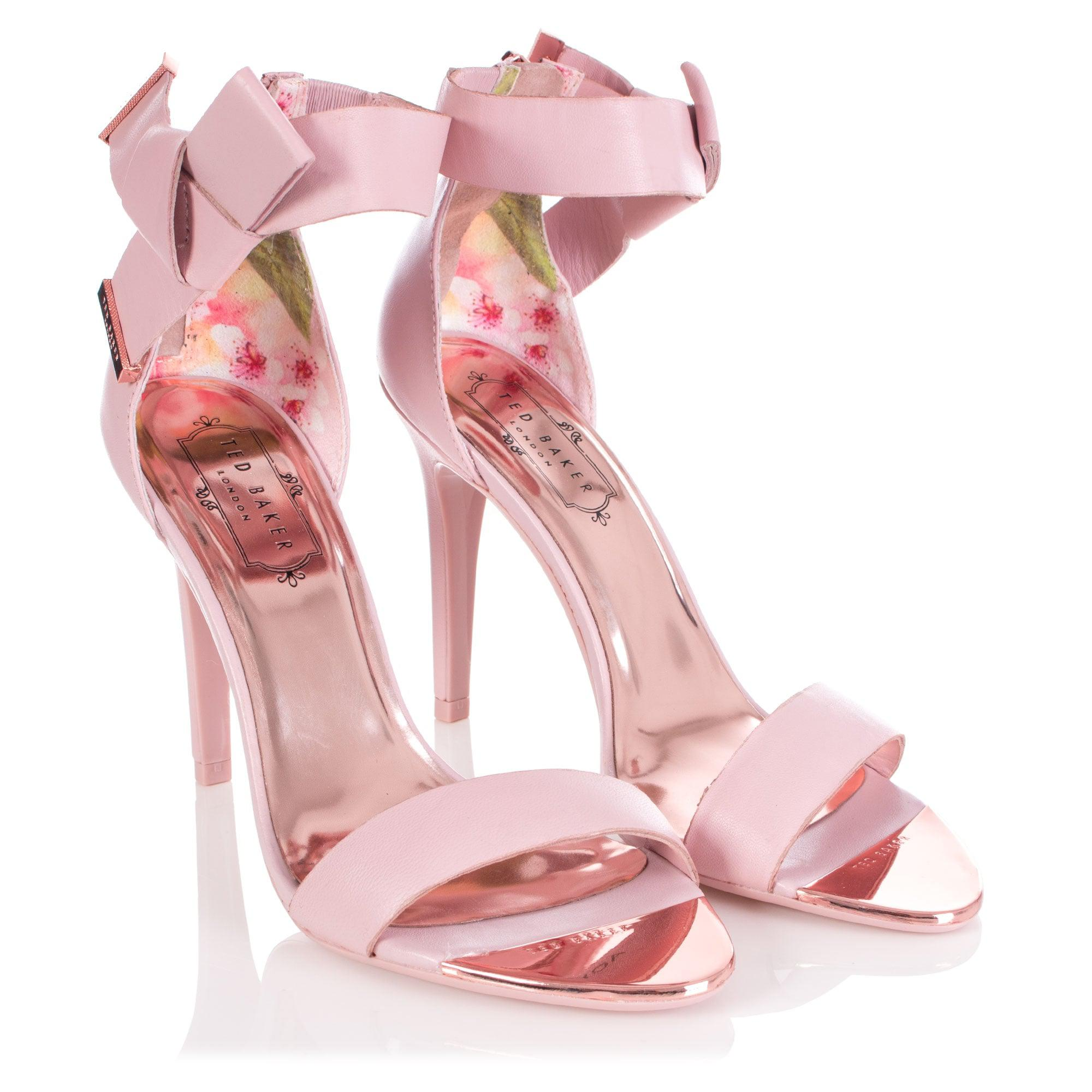 68fd3abf2bbb Ted Baker Saphrun Knotted Bow Leather Sandal in Pink - Lyst
