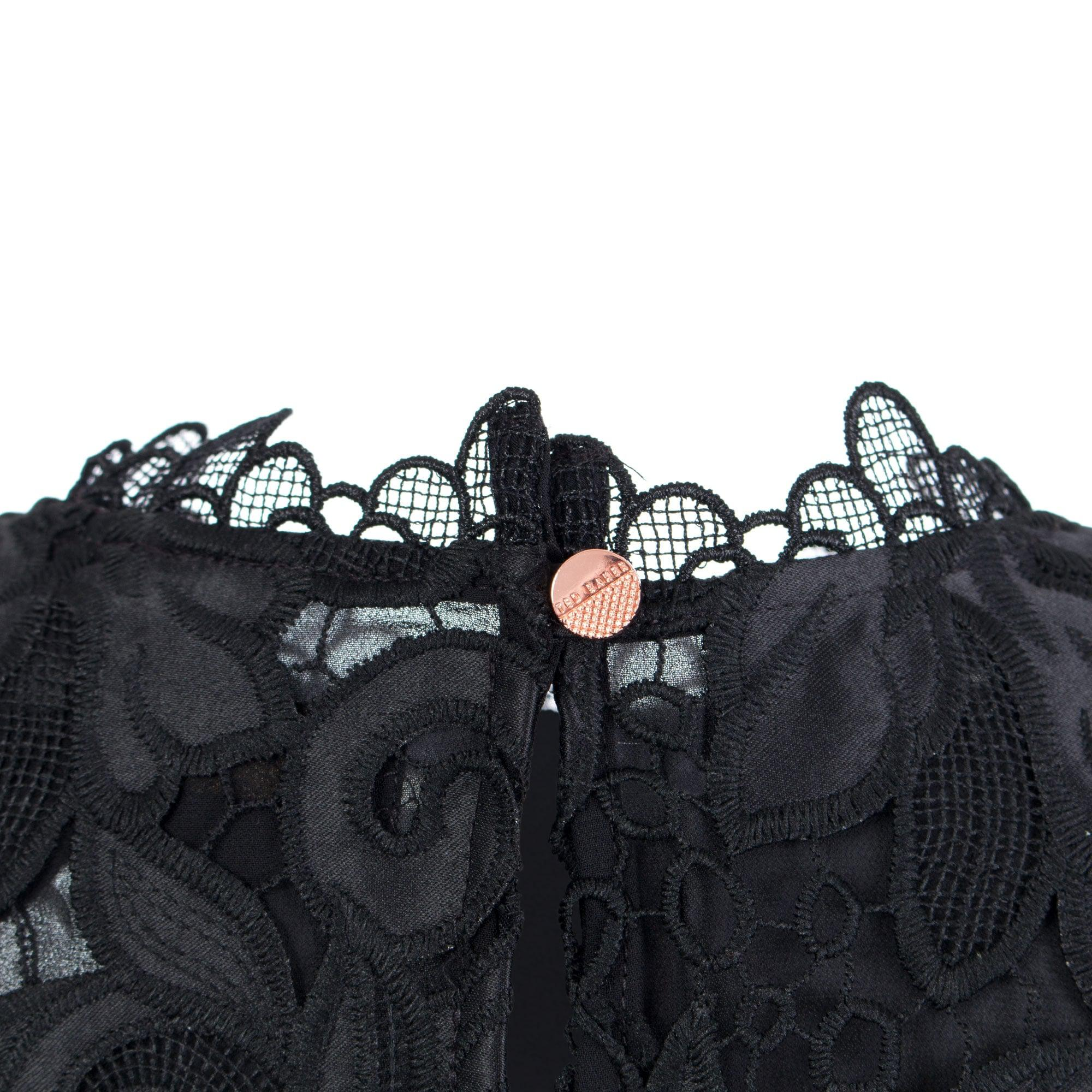 Ted Baker Sorelle Lace Scalloped Top in Black