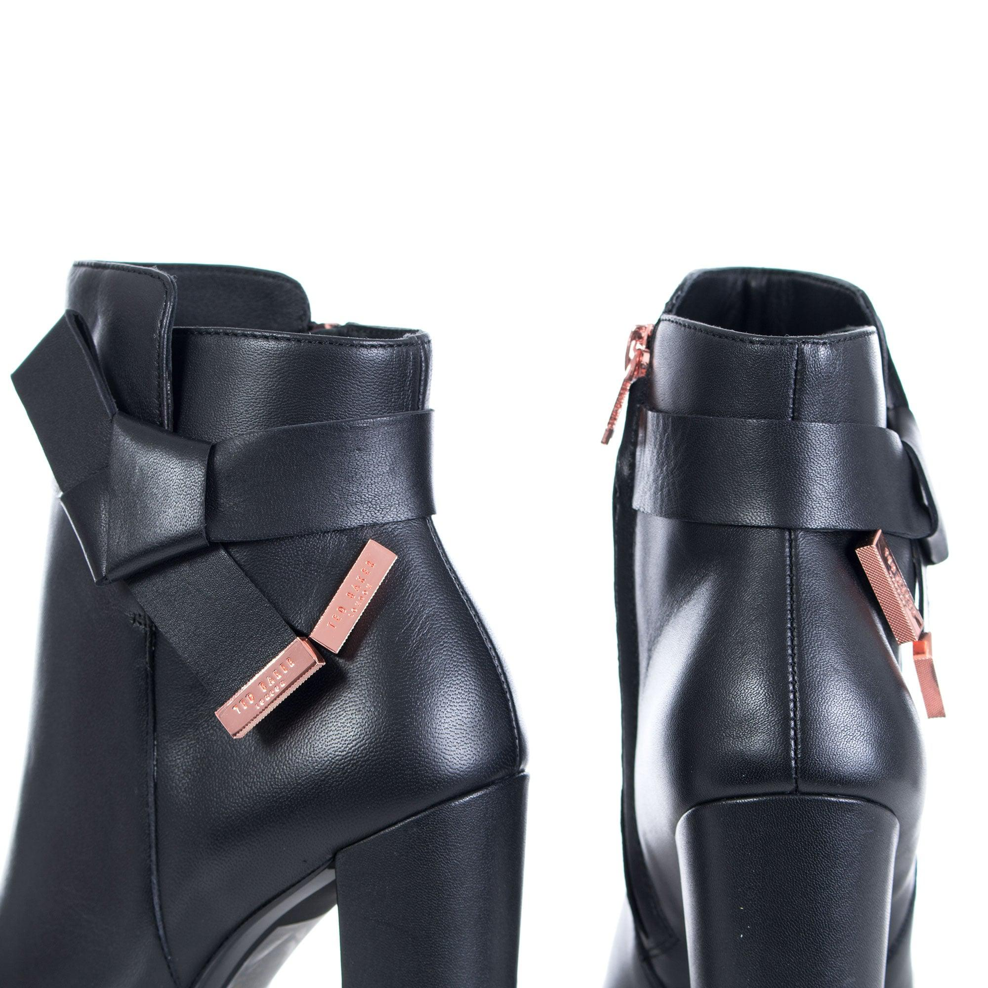 Ted Baker Leather Remadi Ankle Boots High Heel +60mm Black
