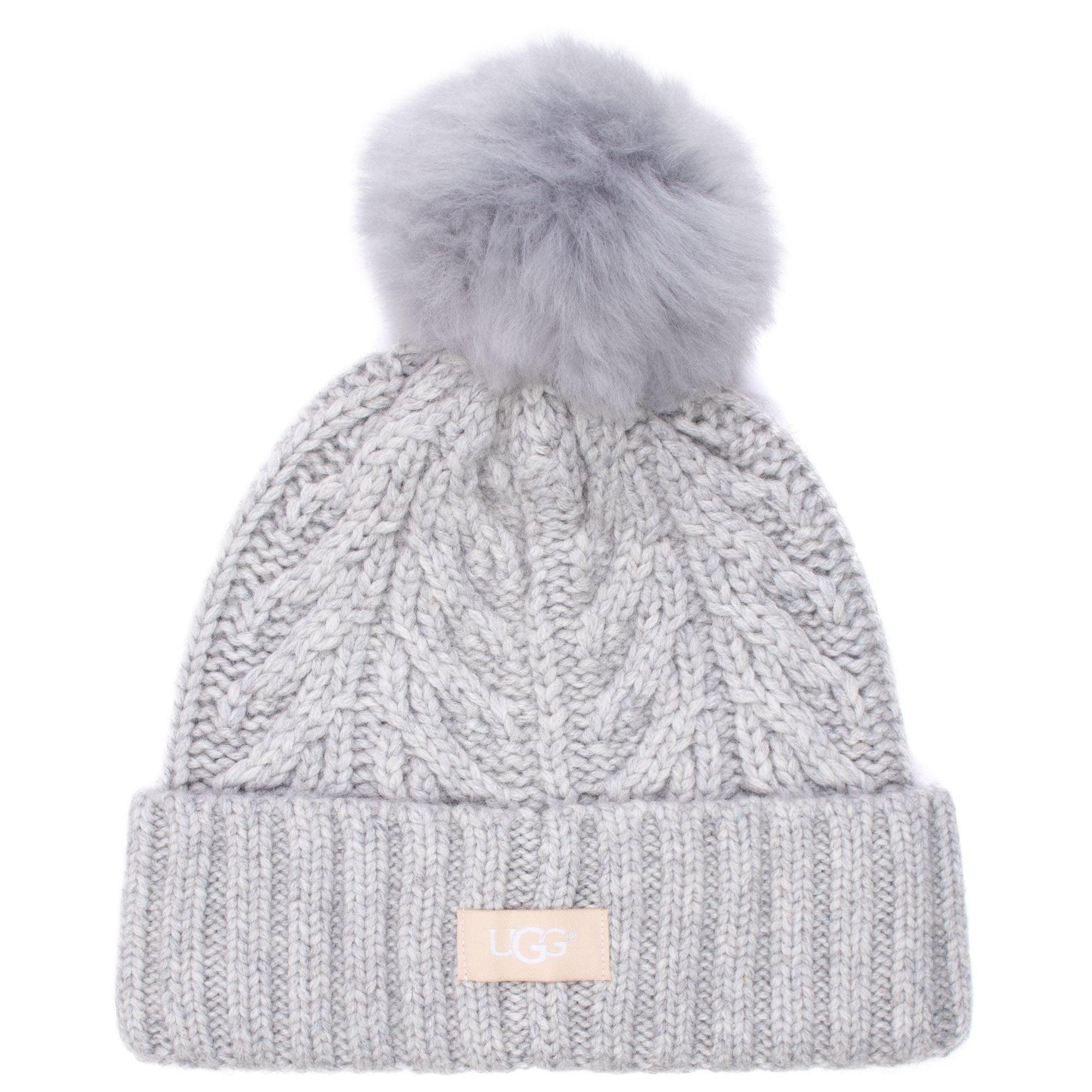 2aa11b70e48db UGG Cable Pom Beanie in Gray - Lyst