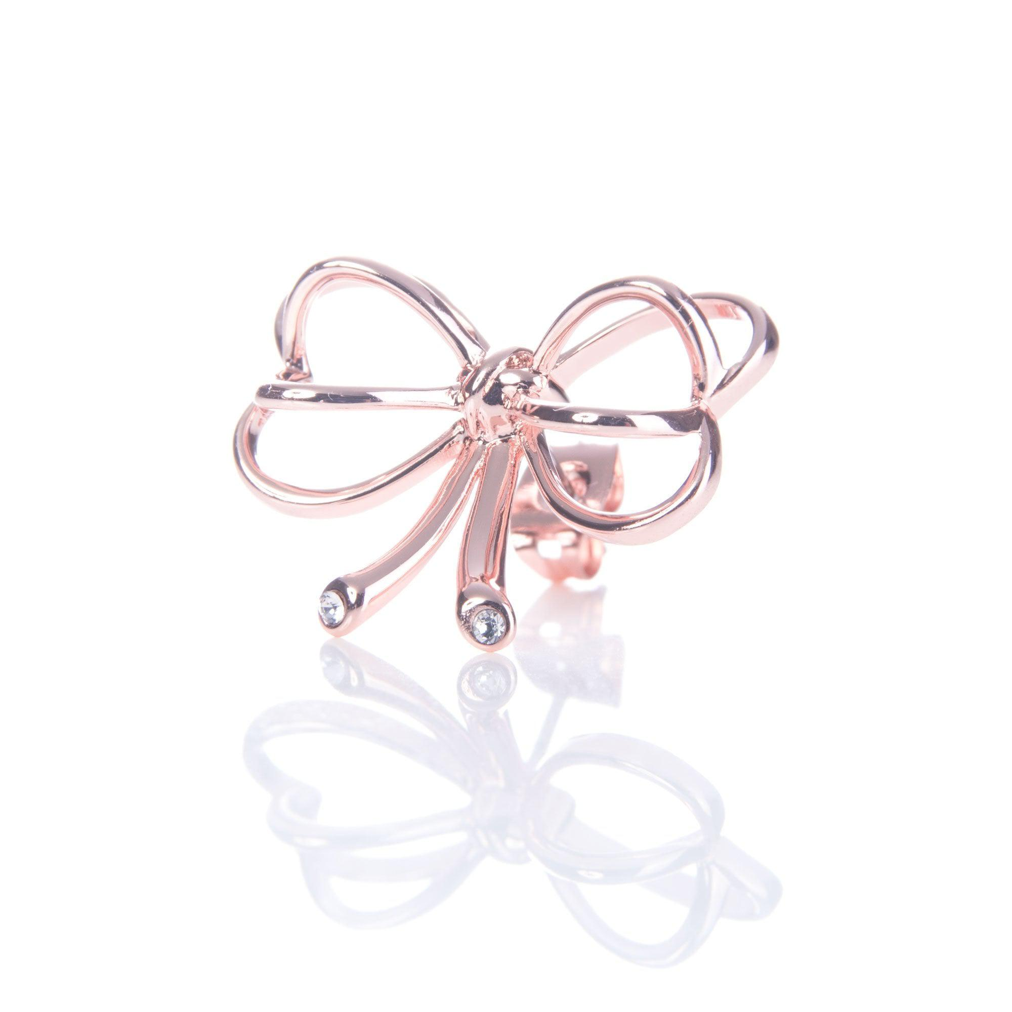 Ted Baker Lakia Heart Bow Stud in Rose Gold (Pink)