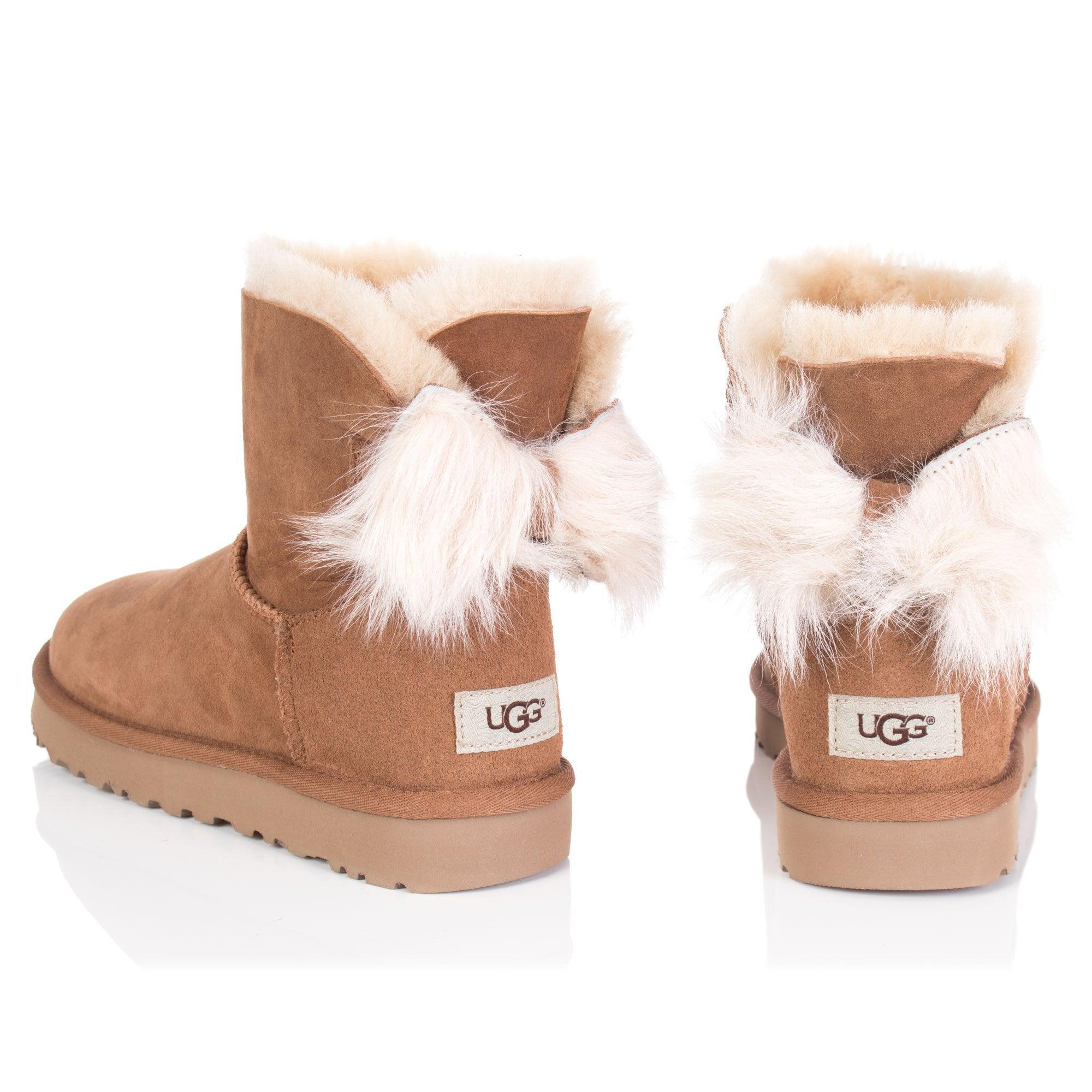 1c5fe3b71c8 UGG Fluff Bow Mini Boot in Brown - Lyst