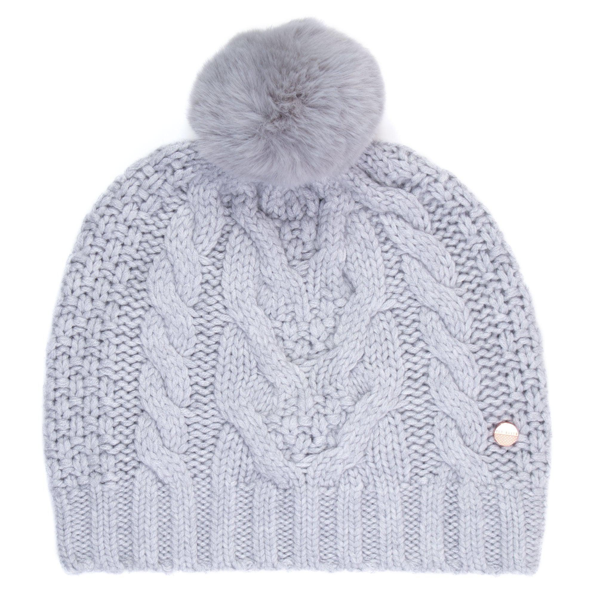 c63bc7617a7c3 Ted Baker Quirsa Cable Knit Pom Hat in Gray - Lyst