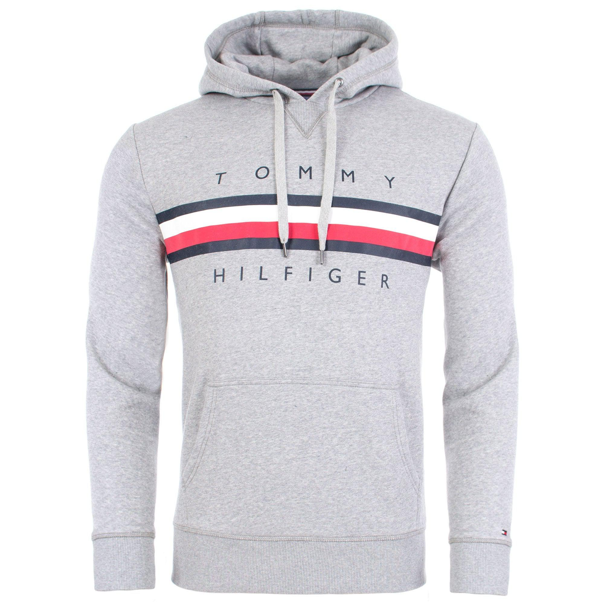 3cd205ee ... Tommy Hilfiger - Gray Signature Tape Logo Hoodie for Men - Lyst. Visit  EQVVS. Tap to visit site