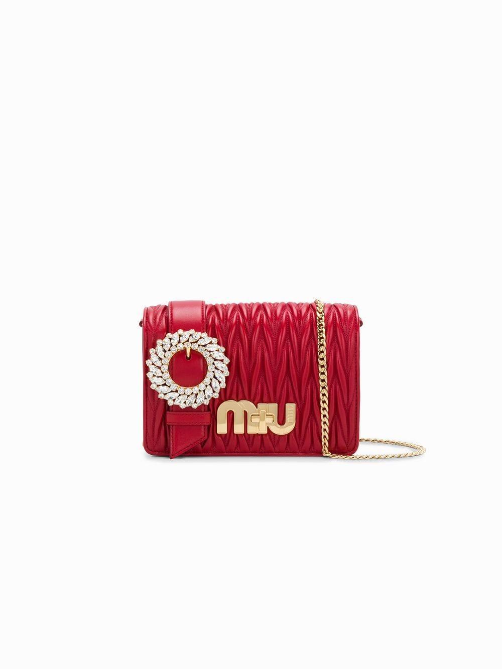 Miu Miu Leather My Miu Shoulder Bag in Red