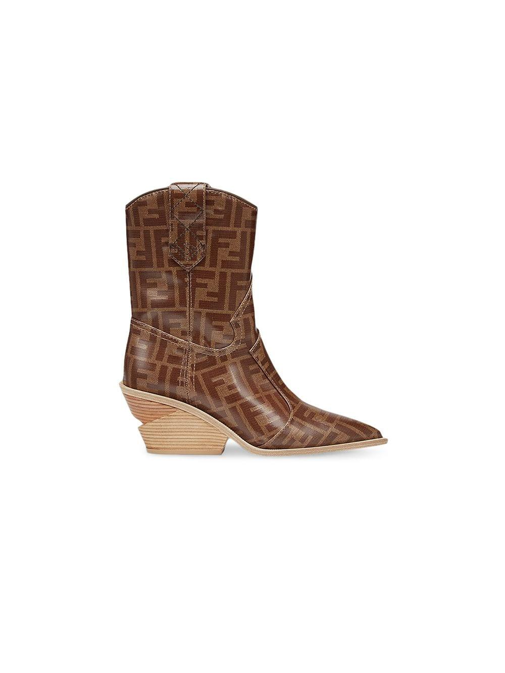 Fendi Pointed Toe Cowboy Booties in