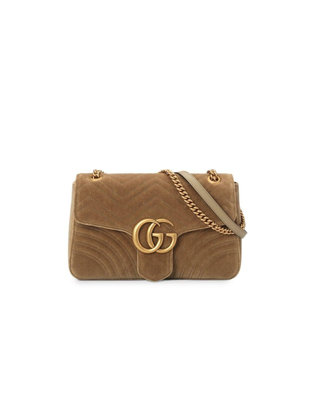 626c6382d46a Gucci Taupe GG Marmont Velvet Medium Shoulder Bag in Brown - Save 33 ...
