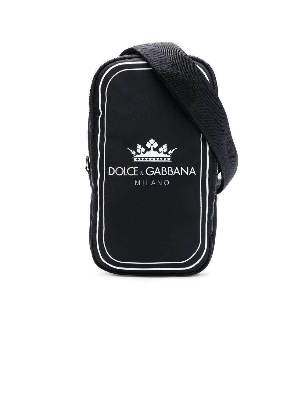 bf0025c8e8 Dolce & Gabbana. Men's Black And White Crown Logo Print Cross-body Bag