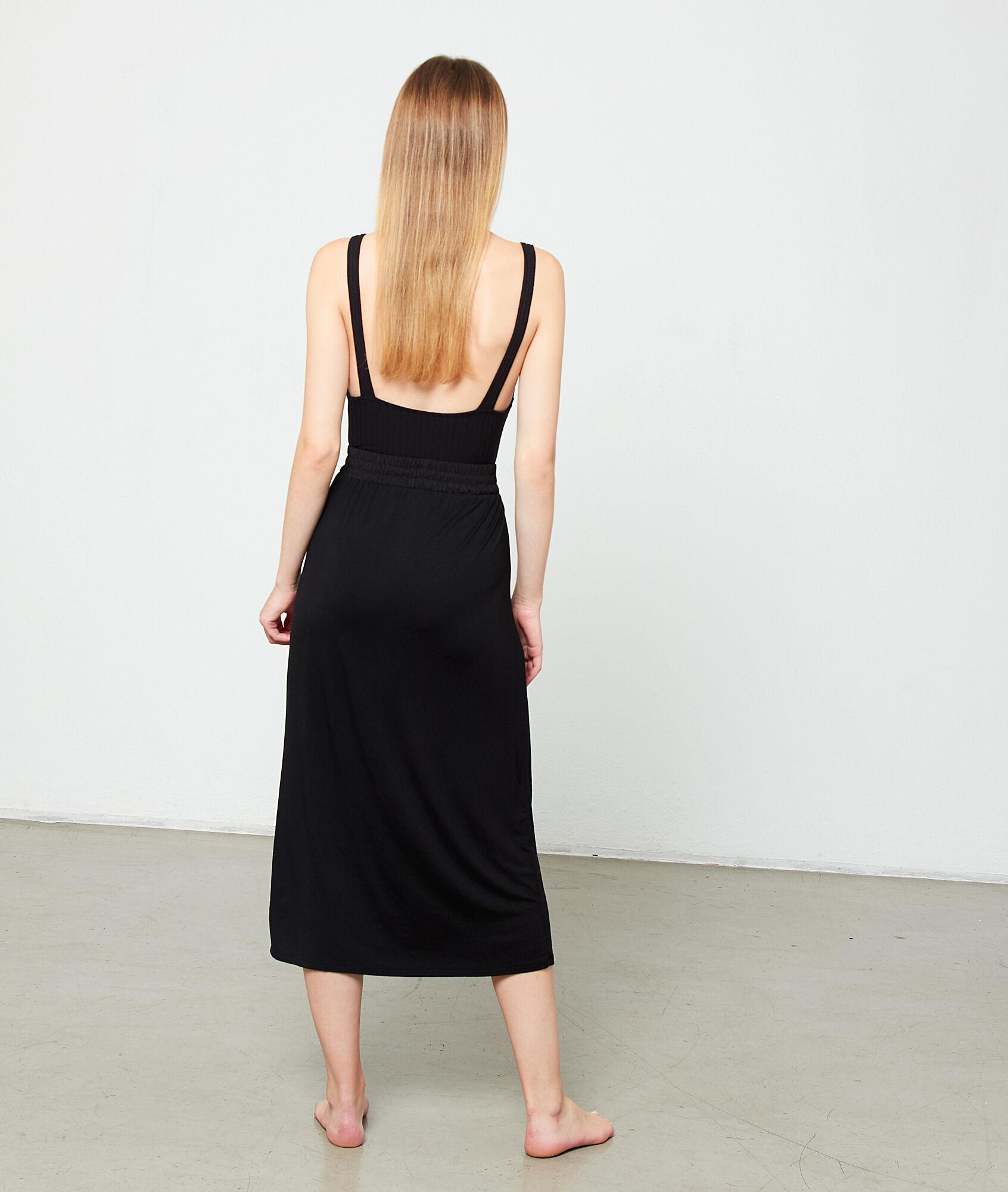 Falda larga ajustada en la cintura Etam de color Negro