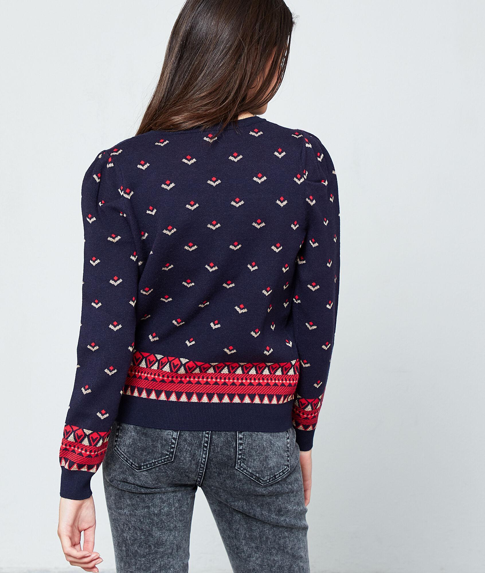 Suéter estampado punto fino Etam de color Azul