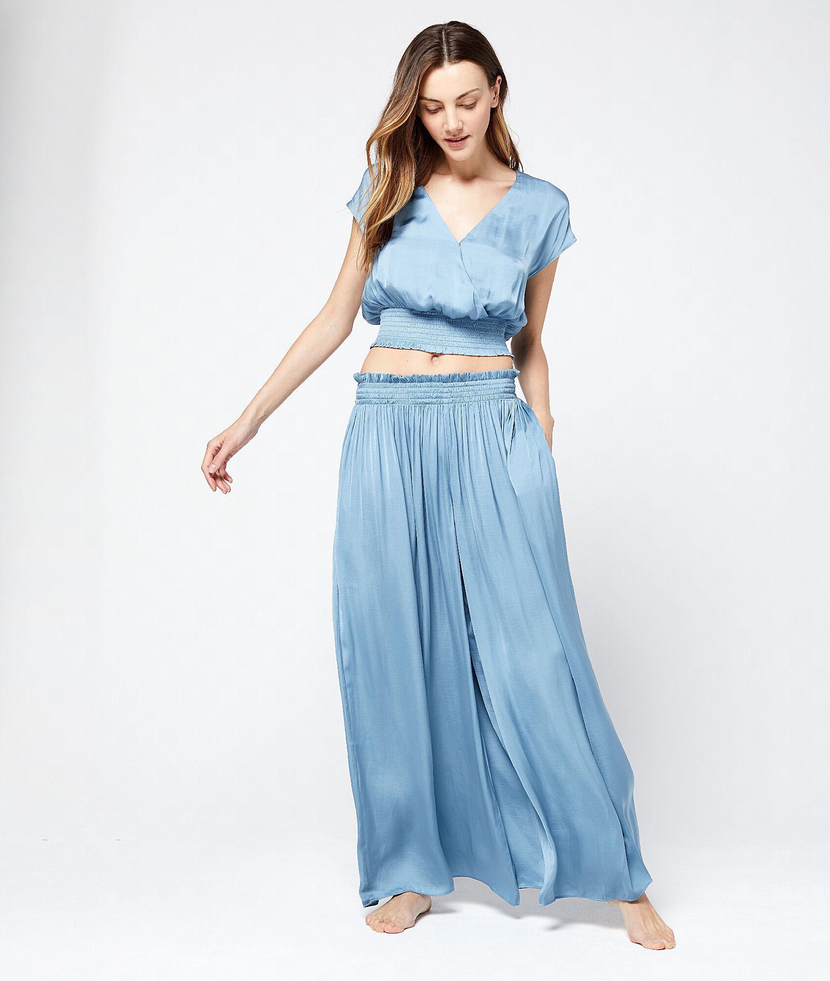 Pantalón de satén oversized Etam de color Azul