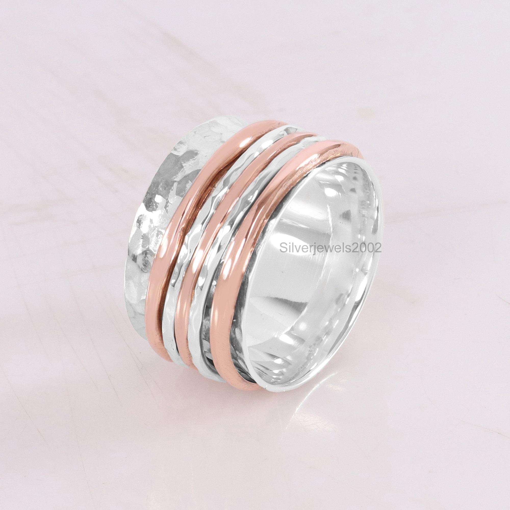 Sterling Silver Ring Hammered ring Thumb Ring Spinner Ring Fidget Ring Worry Ring Sterling Silver 925