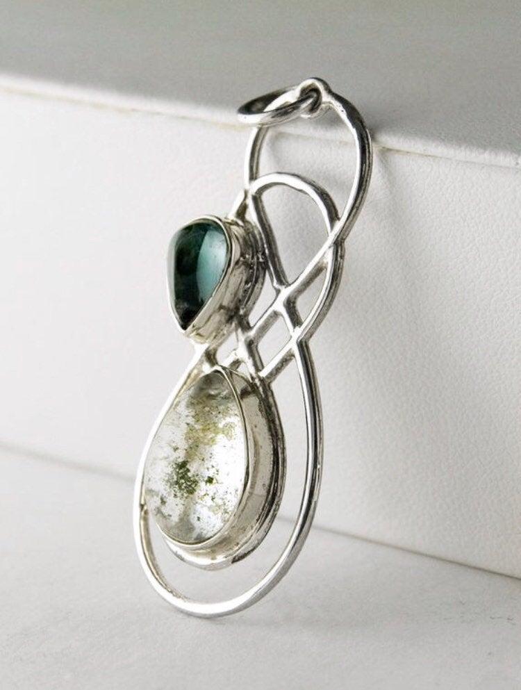 Chunky Green  Tourmaline Stack Silver Pendant