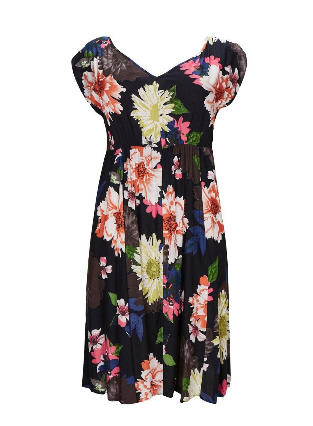 93c4b91589 Evans. Women's **scarlett & Jo Black Floral Print Pocket Skater Dress