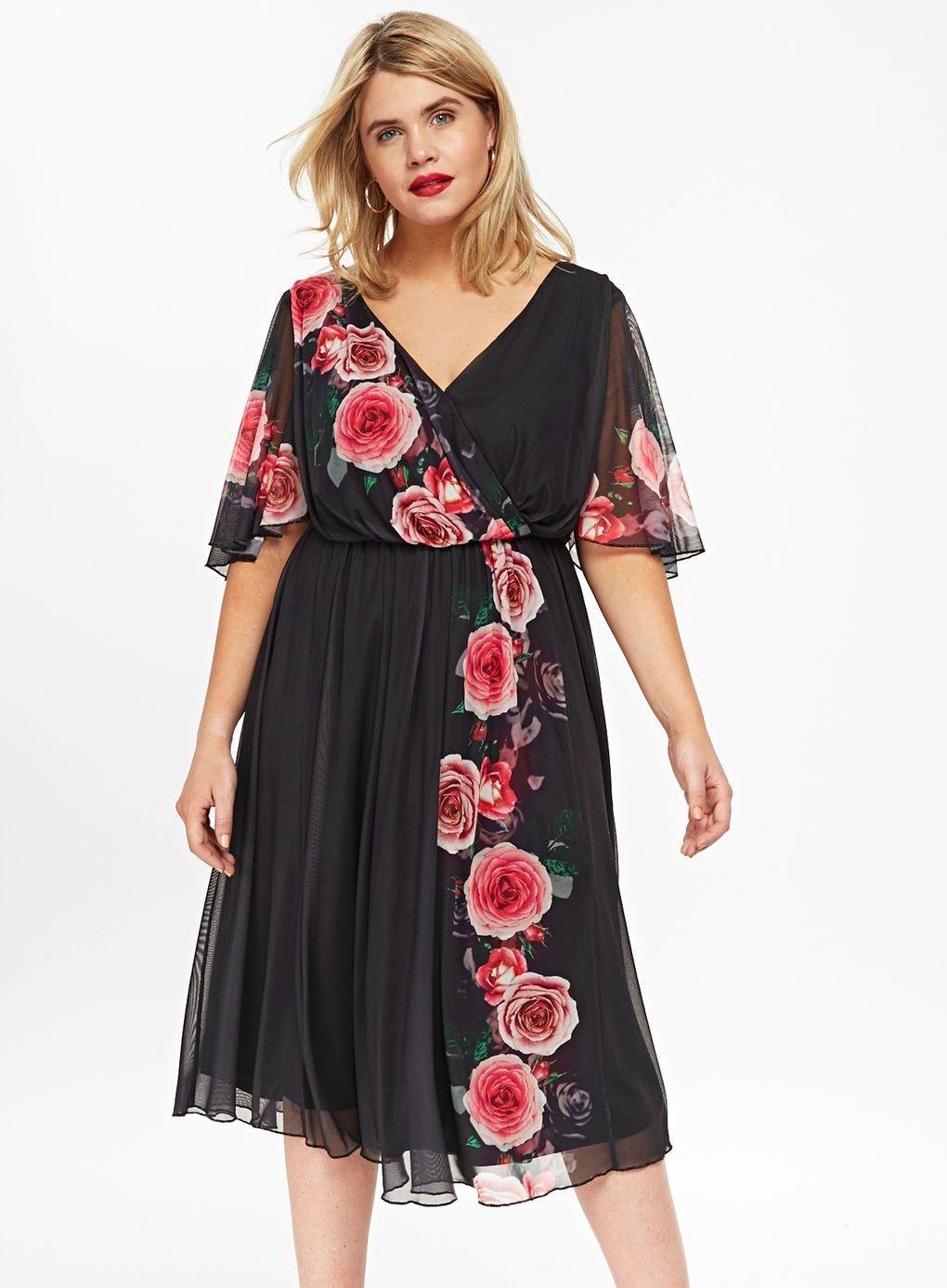 91e148f0a2a Evans -   scarlett   Jo Black Floral Print Skater Dress - Lyst. View  fullscreen