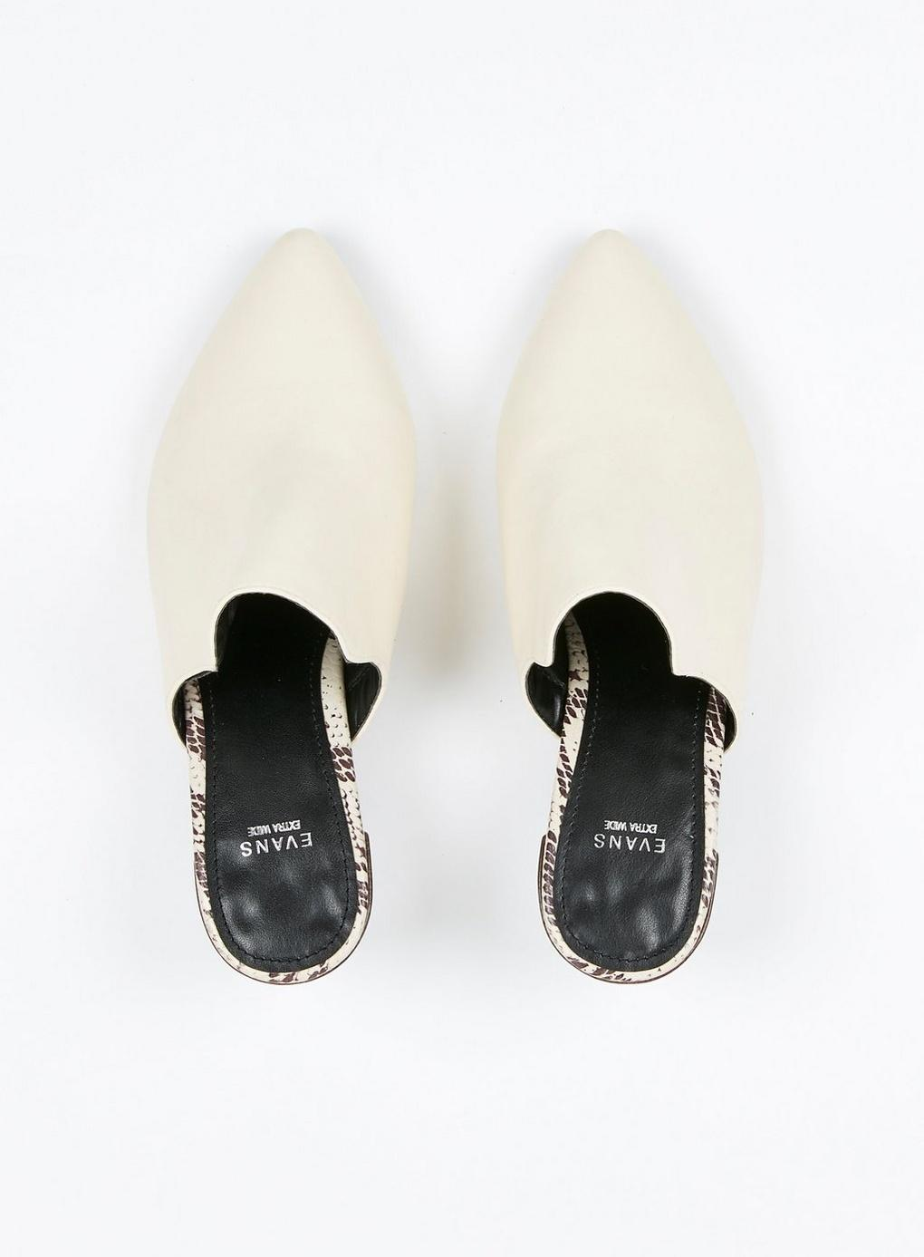 ad130388b61a4 Evans - Extra Wide Fit White Heel Mules - Lyst. View fullscreen