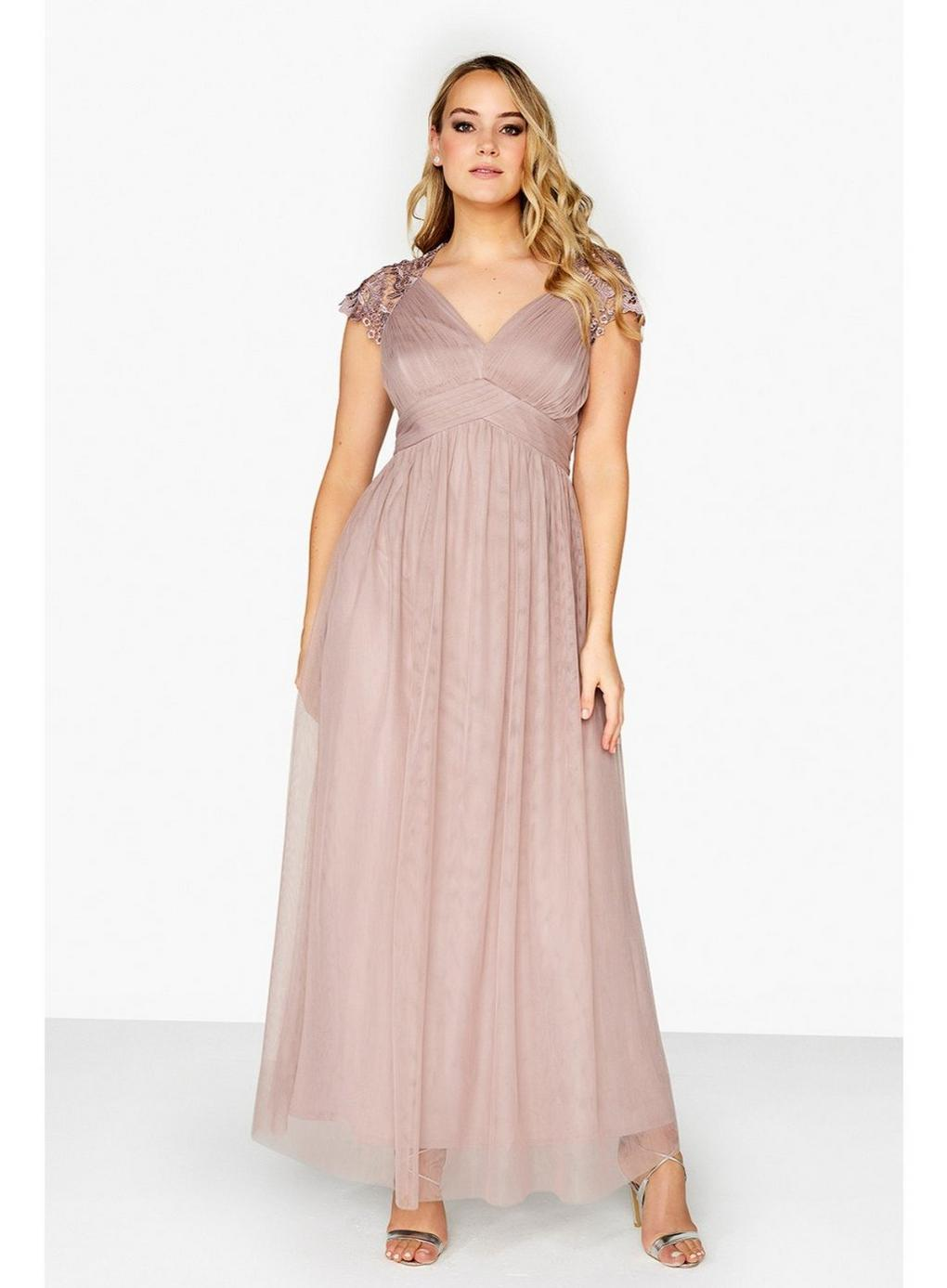 Evans Synthetic **little Mistress Oyster Empire Maxi Dress in Pink
