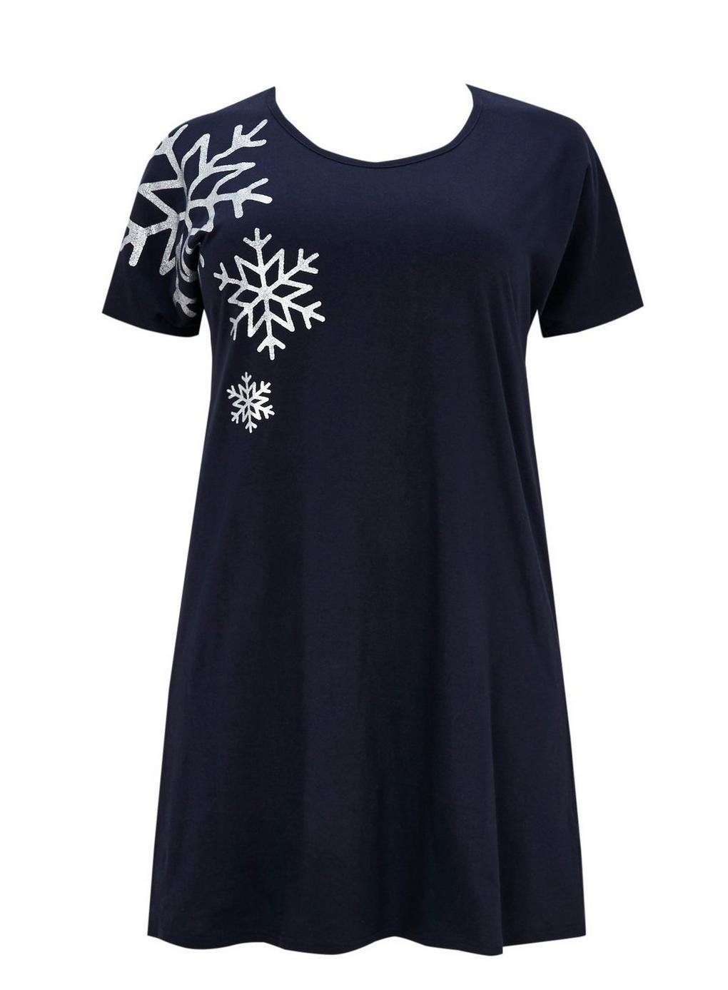 92caec512c Evans Navy Snowflake Short Nightdress in Blue - Lyst