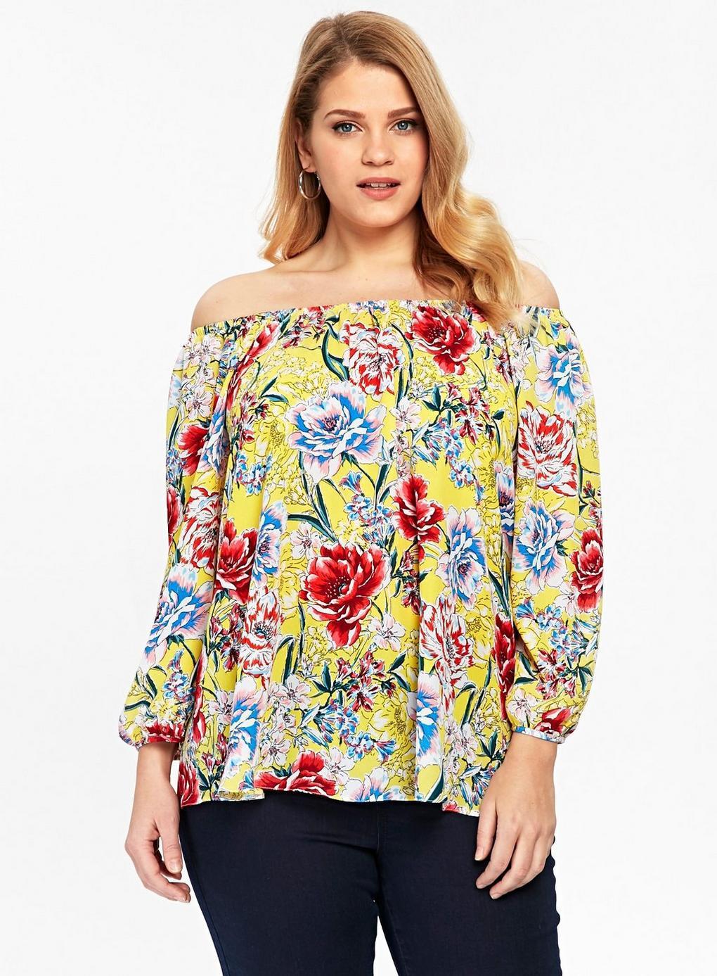ca3b68da5222e7 Evans Yellow Floral Sleeve Bardot Top - Lyst