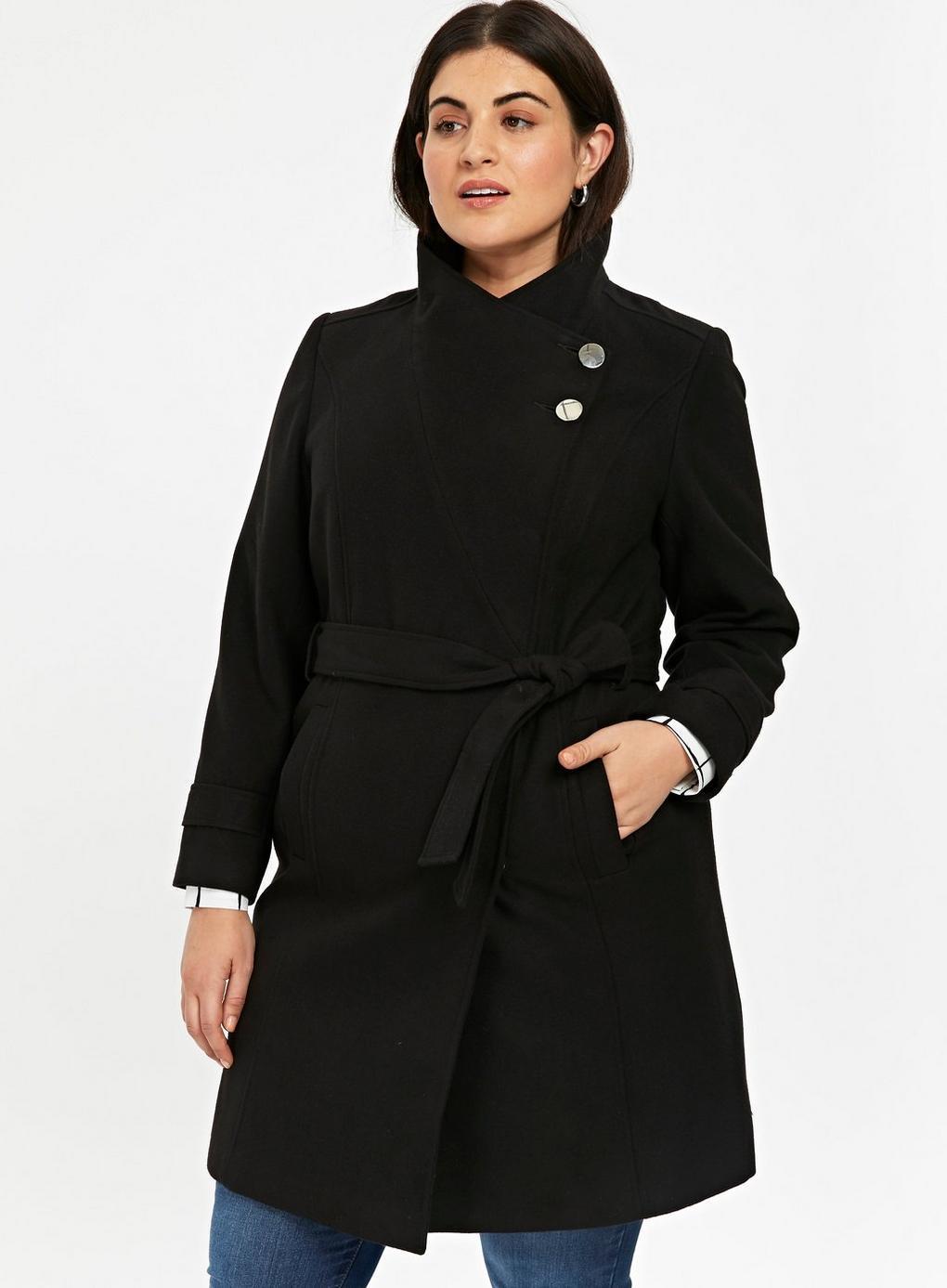ebebf5630 Evans Black Tie Funnel Collar Coat in Black - Lyst
