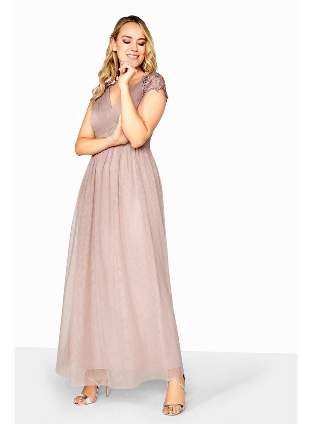 f25076b32061a Evans **little Mistress Oyster Empire Maxi Dress in Pink - Lyst