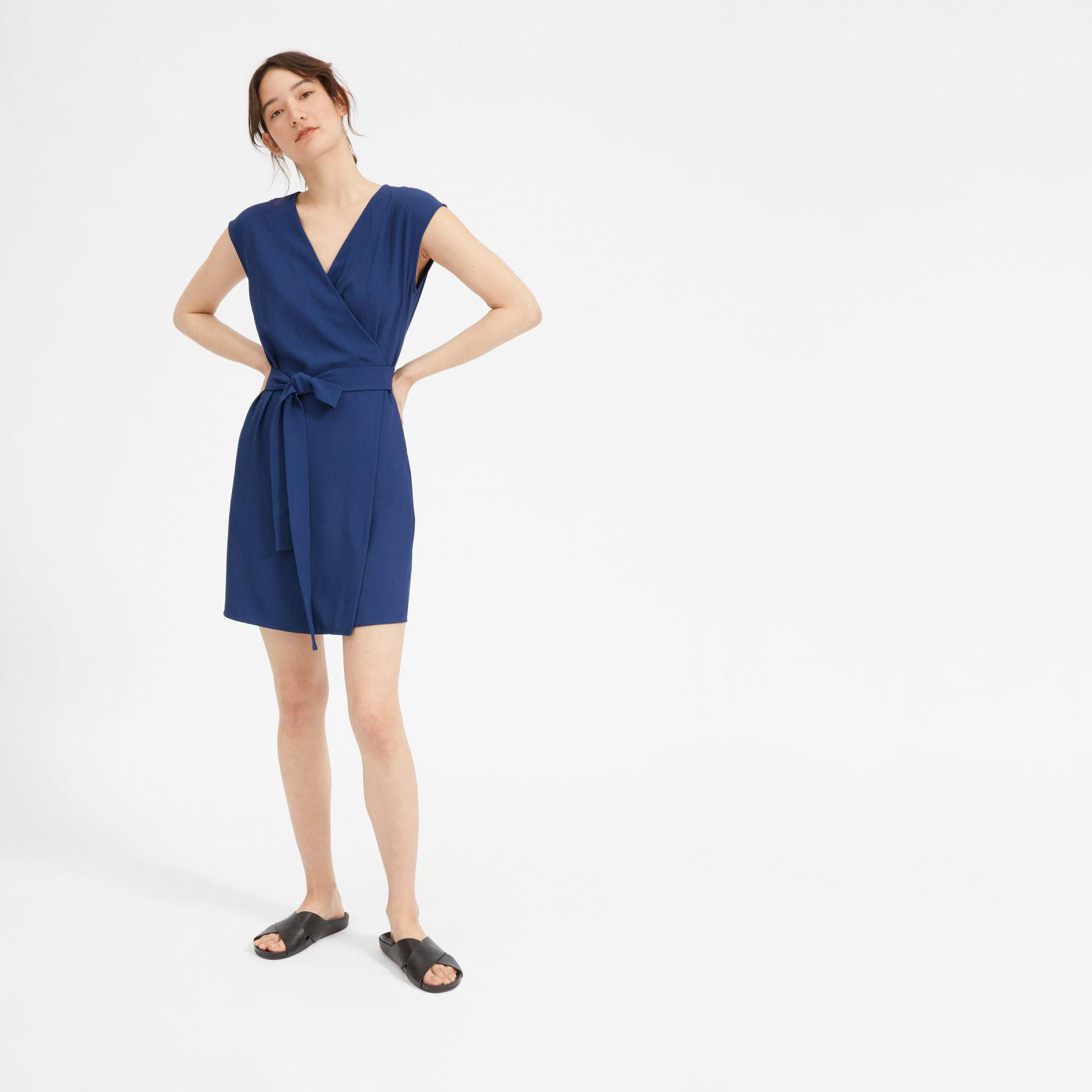 d75c002eb53 Everlane. Women s Blue The Japanese Goweave Short-sleeve Mini Wrap Dress