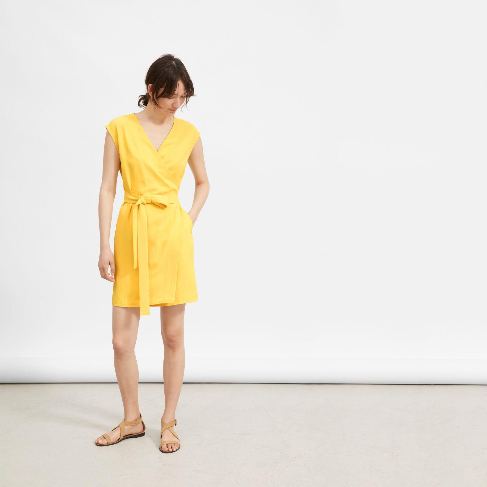 0479b065049 Everlane. Women s Yellow The Japanese Goweave Short-sleeve Mini Wrap Dress