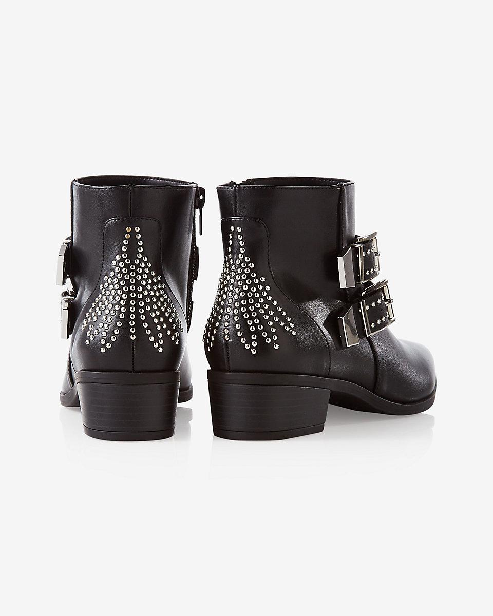 Express Denim Stud Embellished Buckle Ankle Bootie in Black