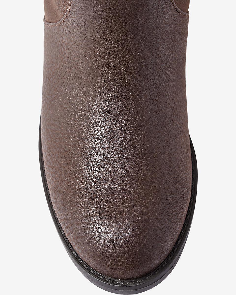 Express Denim Brown Distressed Riding Boot