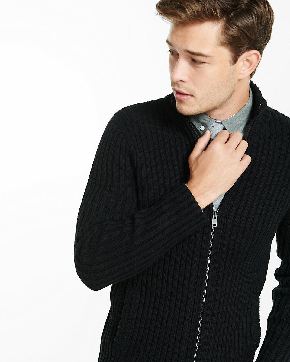 7cf2a262a7f49b Express Ribbed Full Zip Mock Neck Sweater in Black for Men - Lyst