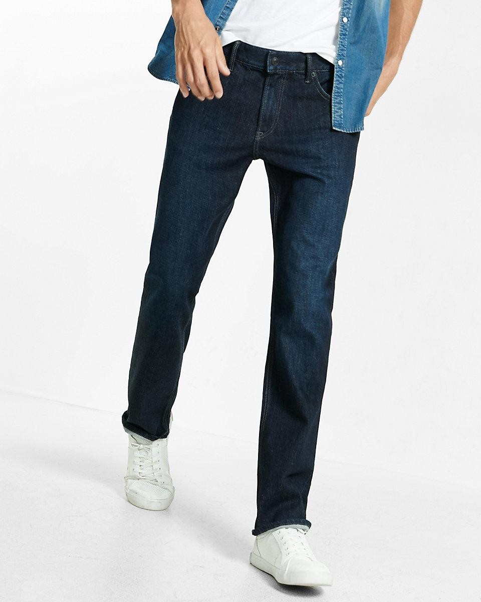Lyst - Express Classic Fit Straight Leg Flex Stretch Dark Wash Jeans in Blue for Men - Save 31%