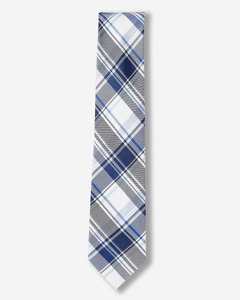 express plaid narrow silk blend tie in blue for lyst