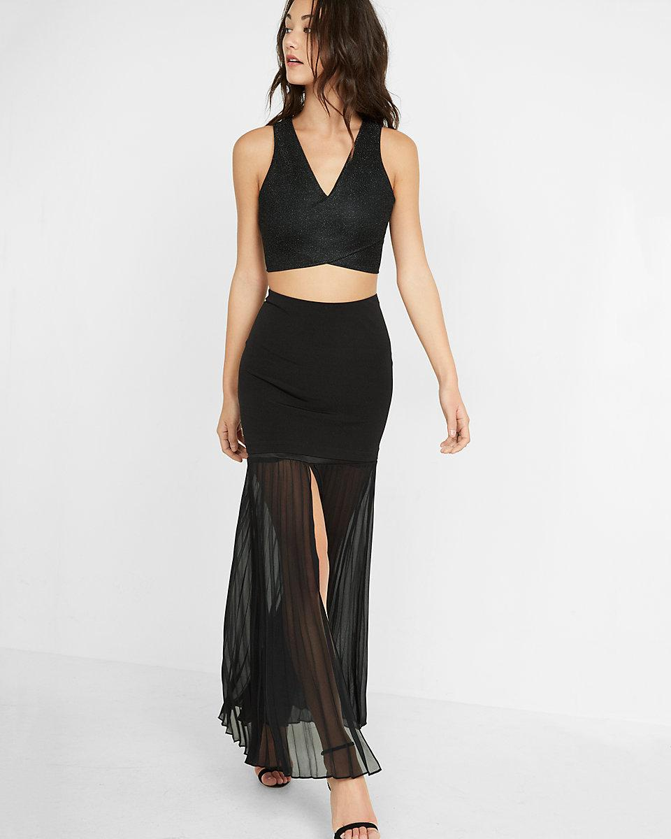 express pleated semi sheer maxi skirt in black lyst