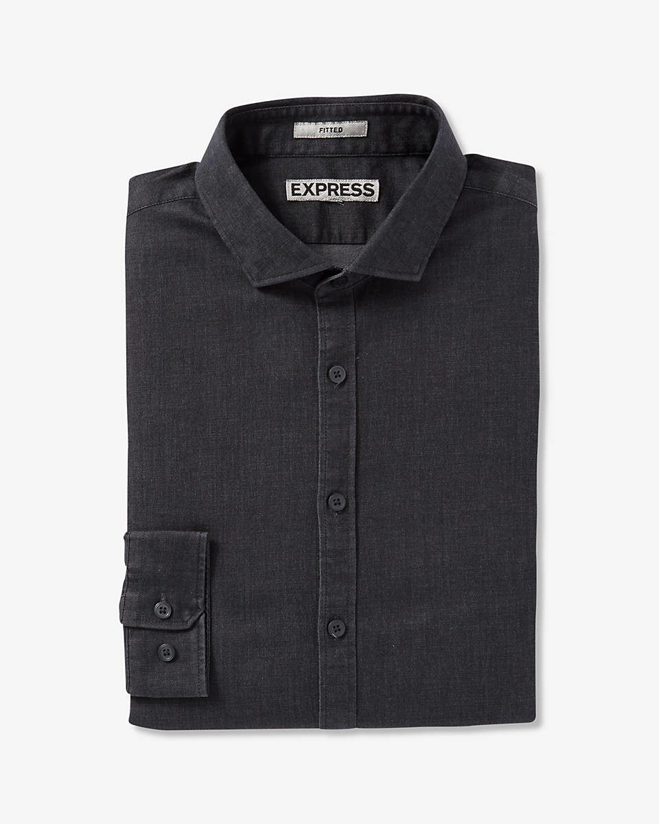 Express fitted chambray dress shirt in black for men lyst for Fitted dress shirts for men