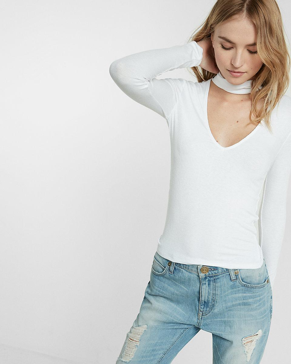 Lyst express ribbed tie neck tee in white for Express shirt and tie