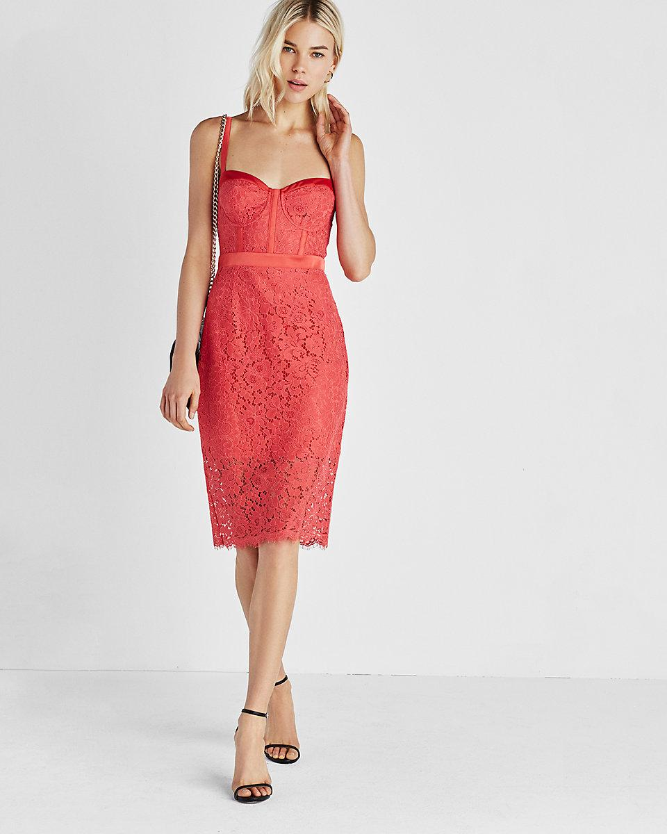 0859ed00 Lyst - Express Corded Lace Bustier Sheath Dress in Red