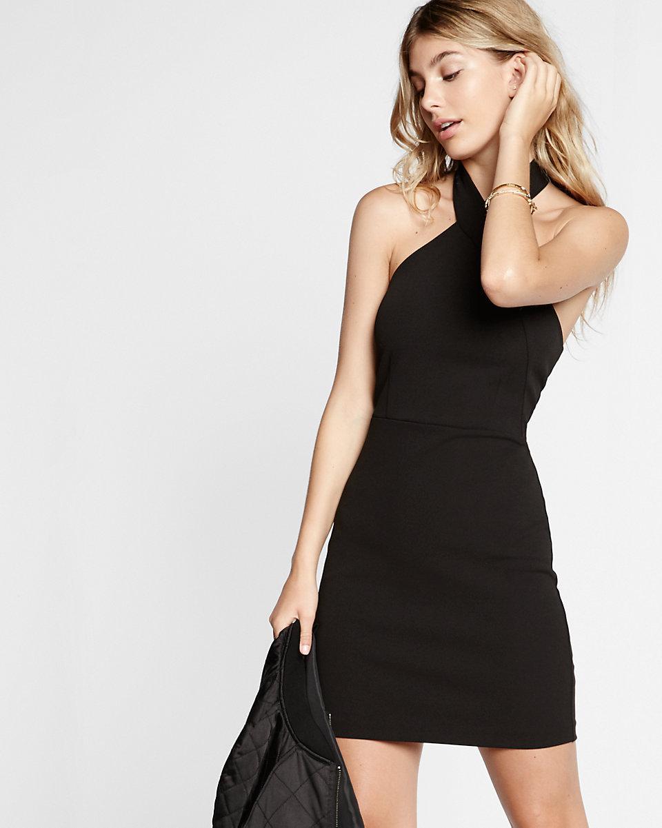 add35809 Express Halter Neck Sheath Dress in Black - Lyst