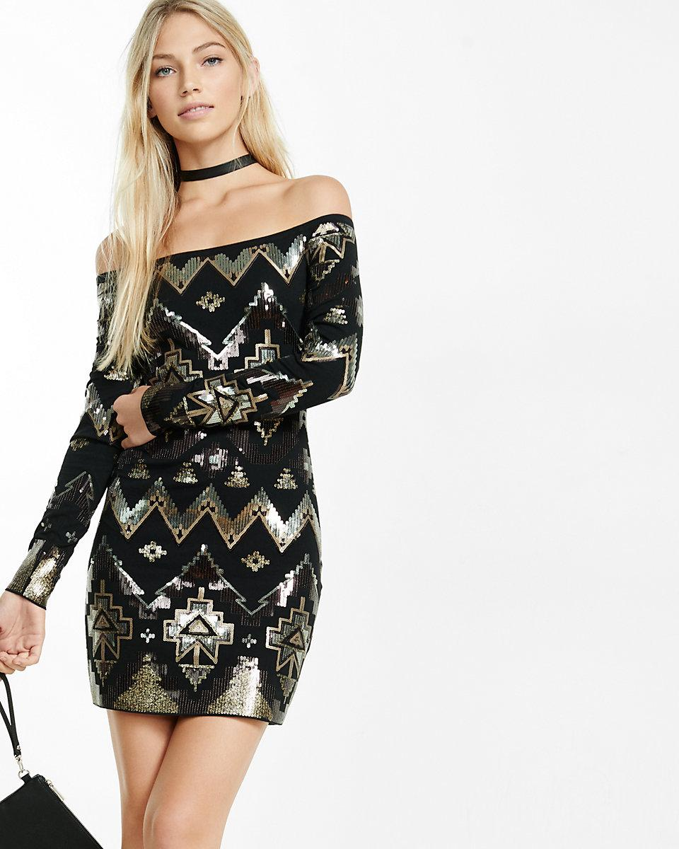 Lyst Express Off The Shoulder Deco Sequined Dress In Black