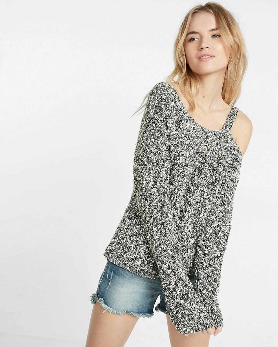 express one shoulder hi lo pullover sweater in gray lyst. Black Bedroom Furniture Sets. Home Design Ideas