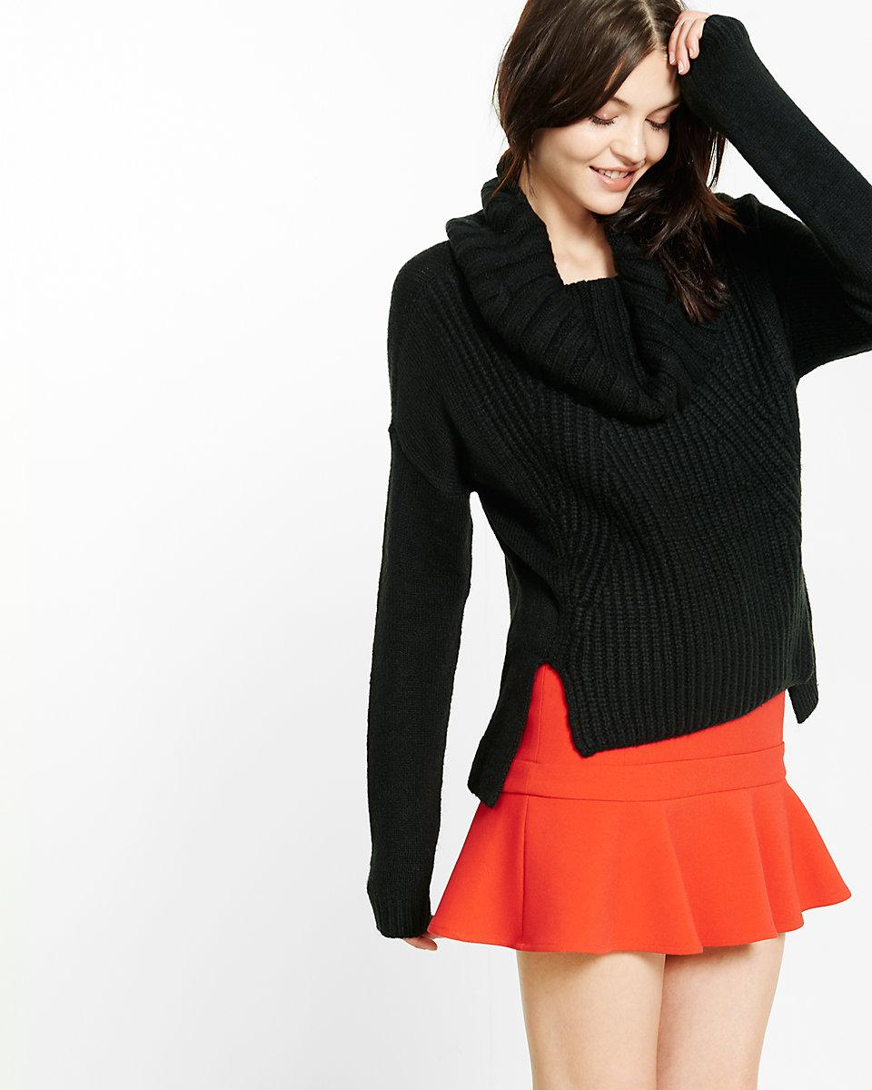 Express Mixed Knit Cowl Neck Boxy Sweater in Black | Lyst