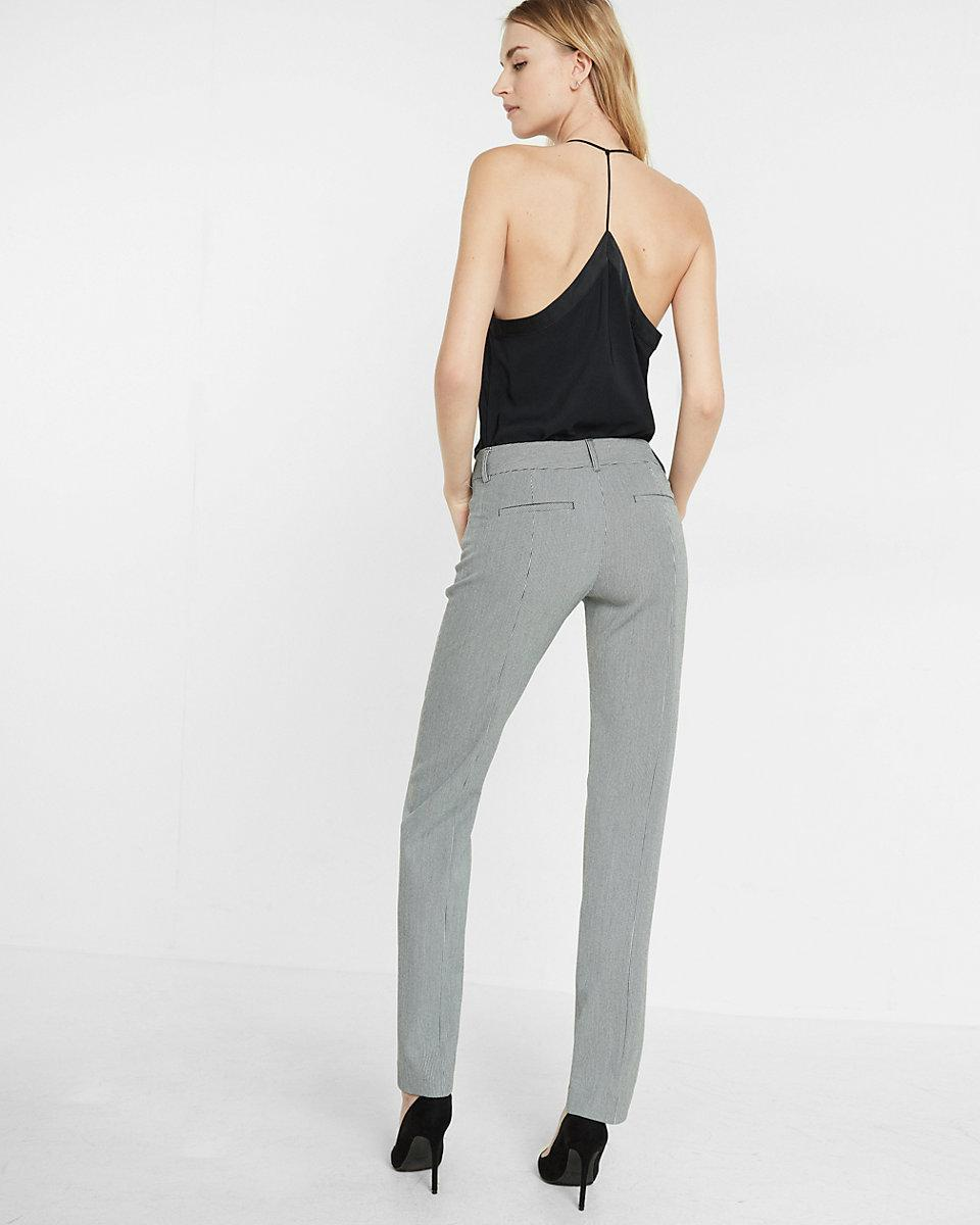 Express Synthetic Houndstooth Low Rise Slim Leg Editor Pant
