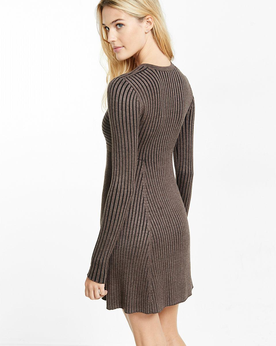 Express Synthetic Deep-v Ribbed Fit And Flare Sweater Dress in Black Print (Black)
