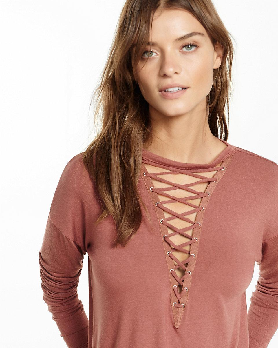 860a1e83e3 Lyst - Express One Eleven Deep V-neck Lace-up Tee