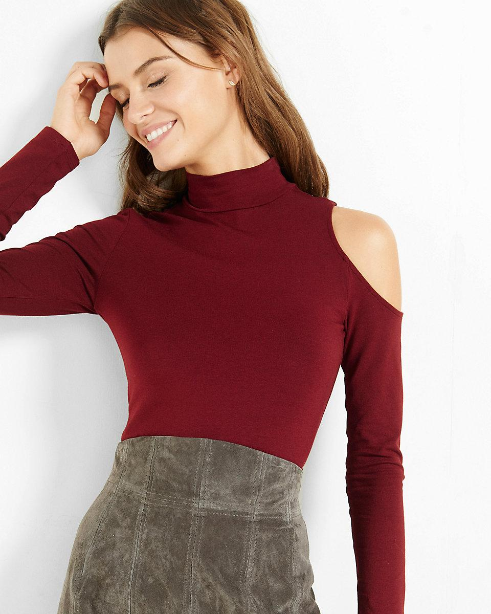 d14ac9931c Lyst - Express Asymmetrical Cold Shoulder Mock Neck Top in Red