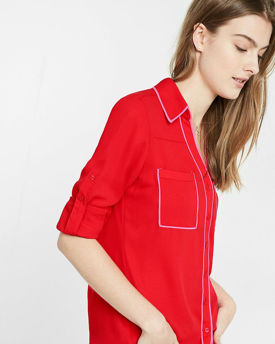 6cbb9ca3f310 Express Slim Fit Contrast Piping Portofino Shirt in Red - Lyst